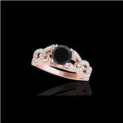 1.5 ctw Certified VS Black Diamond Solitaire Ring 10K Rose Gold