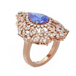5.27 ctw Tanzanite & Diamond Ring 18K Rose Gold