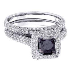 14k White Gold Black Princess Diamond Solitaire Pave Wedding Bridal Ring Set 1-1/4 Cttw
