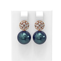 0.63 ctw Diamond and Pearl Earrings 18K Rose Gold