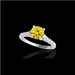 1.2 ctw Certified SI/I Fancy Intense Yellow Diamond Ring 10K White Gold