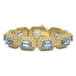 49.14 ctw Aquamarine & Diamond Victorian Bracelet 14K Yellow Gold