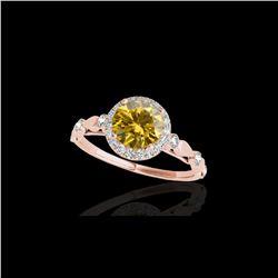1.25 ctw Certified SI/I Fancy Intense Yellow Diamond Ring 10K Rose Gold