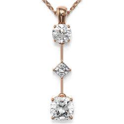 1.16 ctw Cushion Cut Diamond Designer Necklace 18K Rose Gold