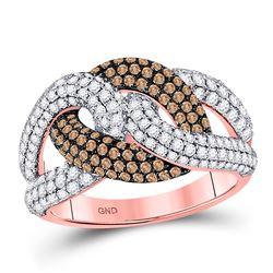14kt Rose Gold Round Brown Diamond Link Fashion Ring 1-1/2 Cttw