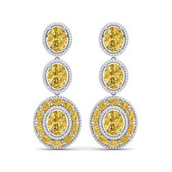 29.71 ctw Canary Citrine & VS Diamond Earrings 18K White Gold