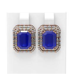 13.29 ctw Sapphire & Diamond Earrings 18K Rose Gold