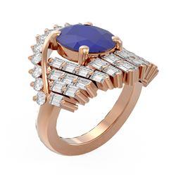 10.48 ctw Sapphire & Diamond Ring 18K Rose Gold