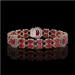 20.99 ctw Ruby & Diamond Bracelet 14K Rose Gold