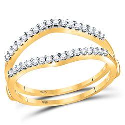 14kt Yellow Gold Round Diamond Ring Guard Wrap Enhancer Wedding Band 1/4 Cttw
