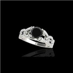 1.5 ctw Certified VS Black Diamond Solitaire Ring 10K White Gold