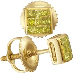 10kt Yellow Gold Mens Princess Yellow Color Enhanced Diamond Square Earrings 1/4 Cttw