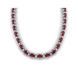 46.5 ctw Garnet & VS/SI Certified Diamond Eternity Necklace 10K White Gold