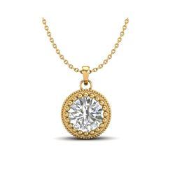 1 ctw VS/SI Diamond Solitaire Art Deco Necklace 18K Yellow Gold