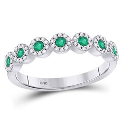 10kt White Gold Round Emerald Circle Stackable Band Ring 1/2 Cttw