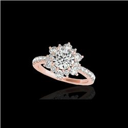 2 ctw Certified Diamond Solitaire Halo Ring 10K Rose Gold