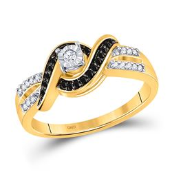 10kt Yellow Gold Round Black Color Enhanced Diamond Solitaire Ring 1/5 Cttw