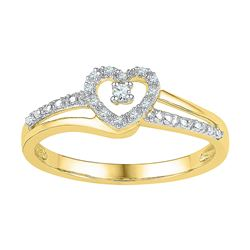 10kt Yellow Gold Round Diamond Heart Promise Bridal Ring 1/20 Cttw