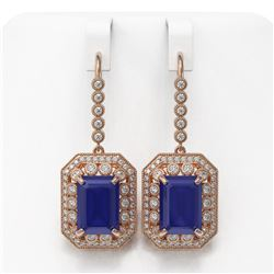 23.79 ctw Sapphire & Diamond Victorian Earrings 14K Rose Gold