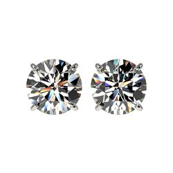 2.50 ctw Certified Quality Diamond Stud Earrings 10K White Gold