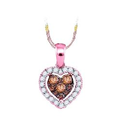 14kt Rose Gold Round Brown Diamond Frame Heart Cluster Pendant 1/3 Cttw