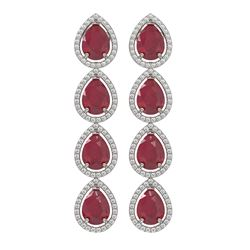 16.01 ctw Ruby & Diamond Micro Pave Halo Earrings 10K White Gold