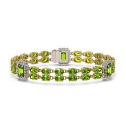 27.5 ctw Peridot & Diamond Bracelet 14K Yellow Gold