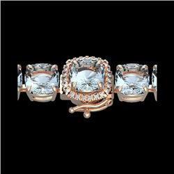 350 ctw Sky Blue Topaz & Micro Diamond Bracelet 14K Rose Gold
