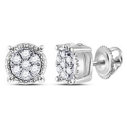 10kt White Gold Round Diamond Flower Cluster Milgrain Stud Earrings 1/10 Cttw