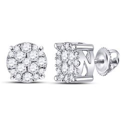 10kt White Gold Round Diamond Fashion Cluster Earrings 1/4 Cttw