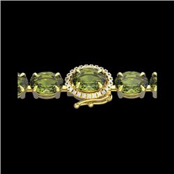 17.25 ctw Green Tourmaline & VS/SI Diamond Micro Bracelet 14K Yellow Gold