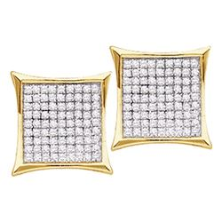 10kt Yellow Gold Round Diamond Square Kite Cluster Earrings 1/3 Cttw