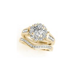 1.56 ctw Certified VS/SI Diamond 2pc Wedding Set Halo 14K Yellow Gold
