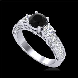 2.07 ctw Fancy Black Diamond Art Deco 3 Stone Ring 18K White Gold