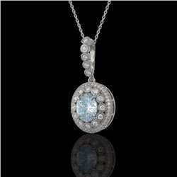 3.82 ctw Aquamarine & Diamond Victorian Necklace 14K White Gold