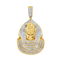 10kt Yellow Gold Mens Round Diamond Pharaoh Cluster Charm Pendant 7/8 Cttw