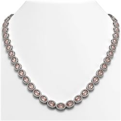31.96 ctw Morganite & Diamond Micro Pave Halo Necklace 10K White Gold