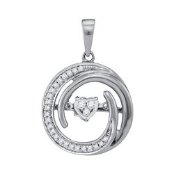 10kt White Gold Round Diamond Moving Twinkle Heart Circle Pendant 1/8 Cttw