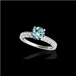1.43 ctw SI Certified Blue Diamond Solitaire Antique Ring 10K White Gold