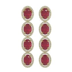 15.68 ctw Ruby & Diamond Micro Pave Halo Earrings 10K Yellow Gold