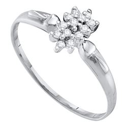 10kt White Gold Round Prong-set Diamond Cluster Slender Ring 1/8 Cttw