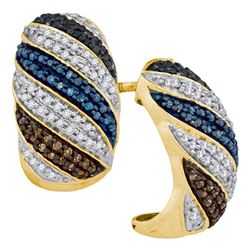 10kt Yellow Gold Round Black Blue Brown Diamond Half Hoop Stripe Earrings 1/2 Cttw