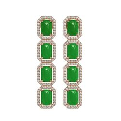 11.93 ctw Jade & Diamond Micro Pave Halo Earrings 10K Rose Gold