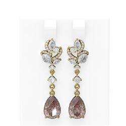 7.82 ctw Morganite & Diamond Earrings 18K Yellow Gold