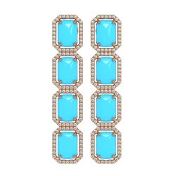 15.39 ctw Turquoise & Diamond Micro Pave Halo Earrings 10K Rose Gold