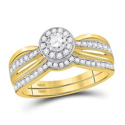 14kt Yellow Gold Round Diamond Bridal Wedding Engagement Ring Band Set 1/2 Cttw
