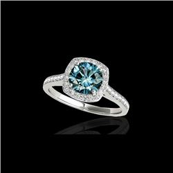 1.65 ctw SI Certified Fancy Blue Diamond Halo Ring 10K White Gold