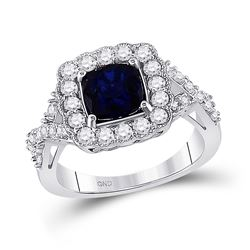 10kt White Gold Princess Lab-Created Blue Sapphire Solitaire Ring 3-3/4 Cttw