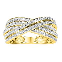 10kt Yellow Gold Round Diamond Crossover Five Row Band Ring 5/8 Cttw