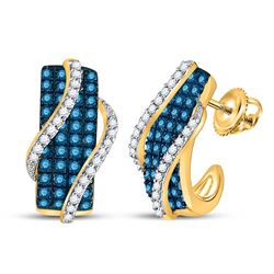 10kt Yellow Gold Round Blue Color Enhanced Diamond Half J Hoop Earrings 1.00 Cttw